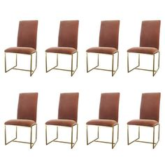 Set Of Eight Brass High Back Velvet Dining Chairs By Milo Baughman