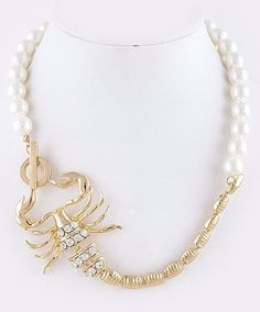 Pearl & crystal scorpion necklace