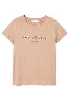 Tee-shirt col rond sérigraphié en coton Beige by MANGO