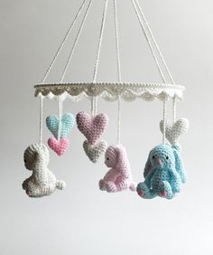 Handmade Baby Gift, Beautiful Bunny Mobile This lovely crochet baby mobile with cute baby bunnies, little sweeties to greet your newborn every … Crochet Baby Mobiles, Crochet Mobile, Crochet Hedgehog, Crochet Bunny, Cute Baby Bunnies, Cute Babies, Crib Makeover, Unique Cribs, Vintage Crib
