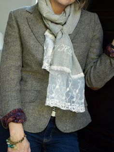 Less-Than-Perfect Life of Bliss: Freezer Paper Stencils monogrammed scarf