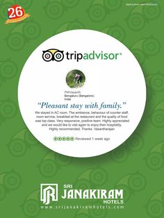 "#HAPPY_CUSTOMER""Pleasant stay with family"" was an happy review given by our valuable customer Mr.PM.Vasanth, Bengaluru. We are really happy to serve a guest like you who prefer staying with us. We look forward in see again to serve you more better. Thank you once again.  #Srijanakiram #review #tripadvisor."