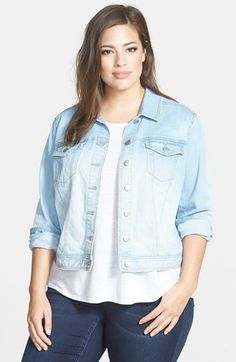 81aa5115a22 Sejour  Bluejay  Crop Denim Jacket (Plus Size) available at  Nordstrom Boho
