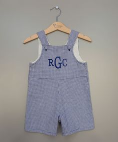 Look what I found on #zulily! Blue Gingham Monogram Shortalls - Infant & Toddler by Princess Linens #zulilyfinds
