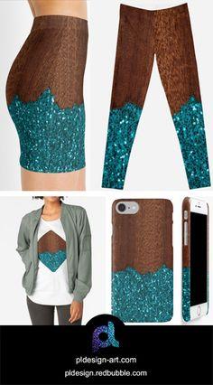 Unique apparel Aqua blue sparkles broken rustic brown wood Mini Skirt, Leggings, shirts, phone cases and more by #PLdesign #sparkles #bluesparkles #style #redbubble