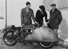 Moto Guzzi works rider Enrico Lorenzetti factory founder Carlo Guzzi 1953 photo