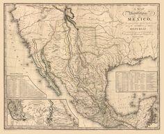 """1826 MAP of MEXICO, America, California, Texas, antique home decor, 30""""x24"""""""