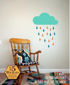 RAINDROP Wall Decals Rain Drop Wall Decals Nursery Wall Decals - Nursery wall decals clouds