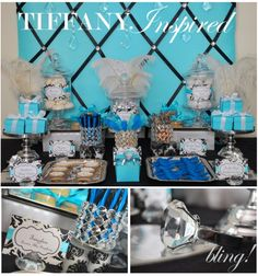 Tiffany party decor, want a Tiffany's wedding one day. Tiffany Theme, Tiffany Party, Tiffany Box, Tiffany Wedding, Tiffany Engagement, Shower Party, Baby Shower Parties, Bridal Shower, Tiffany Sweet 16