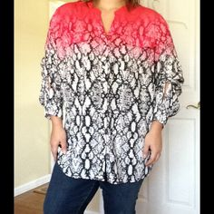 CK Ombré Southwestern Blouse Fully buttoned and two breast pockets that are open closure Calvin Klein Tops Button Down Shirts
