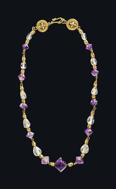 (Byzantine) Byzantine Gold, rock crystal, and amethyst Necklace. ca 6th-7th century CE.