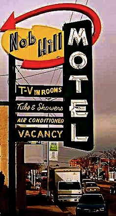 Nob Hill Motel. Albuquerque, New Mexico. Route 66. Vintage Motel Sign. Click through for full picture.