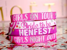 I've just found Hen Party Vip Wristbands. If you are a Festival Bride or having a festival style Hen Party Weekend then you need to have these Hen Party VIP wristbands.  . £2.00