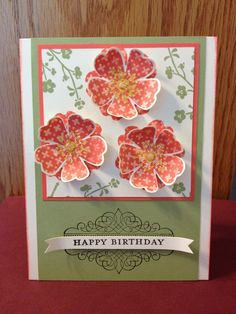"Hostess set from Stampin' up- ""Morning Meadow"", using kissing technique"