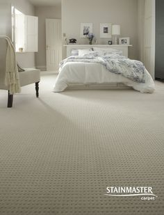 Gain some inspiration from this traditional master bedroom featuring STAINMASTER – Grey Carpet Bedroom Carpet Colors, Carpet In Bedrooms, Cream Carpet, Master Bedroom, Bedroom Decor, Bedroom Modern, Master Suite, Bedroom Ideas, Basement Carpet