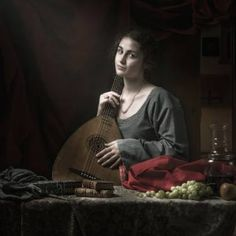 "Saatchi Art Artist Zeikophotography Karol Szejko; Photography, ""Young Woman with Lute, Limited Edition of 10, dibond with hanging system or Illford Fine Art Matte 210g paper"" #art"