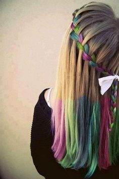 blue, pink, and green colored hair braid and | http://best-braid-hair-styles.blogspot.com