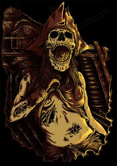 this one its all about a curse for the damnned pirates.i try put some colors on this artwork and i hope u like it now enjoy and cheers up the beers! curse of the aztec Pirate Art, Pirate Life, Pirate Halloween, Halloween Crafts, Dark Gothic Art, Dead Man, Grim Reaper, Skull And Bones, Aztec