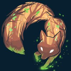 Forest Fox t-shirt TeeTurtle navy t-shirt featuring the outline of a fox with a brown and green forest within the shape of the fox Cute Fox Drawing, Cute Animal Drawings, Cool Drawings, Cute Fantasy Creatures, Mythical Creatures Art, Fox Fantasy, Fantasy Art, Mystical Animals, Wolf Spirit Animal