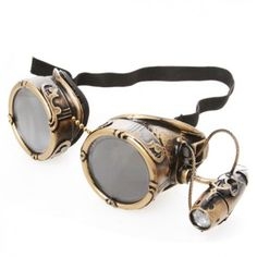 Aeronautical Couture Steampunk Goggles with Light