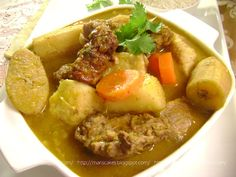 SANCOCHO ... Dominican stew with root vegetables/potatoes like plantain, yucca, also add carrots , cilantro and all kinds of meats like beef, chicken, pork