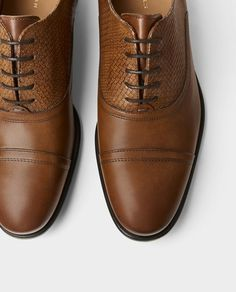 Image 2 of SMART BROWN LEATHER SHOES from Zara