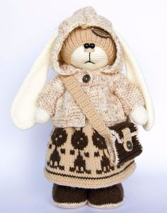 Crochet Animals Toy Stuffed Handmade Bunny Rabbit Boy Doll Soft Children 12in