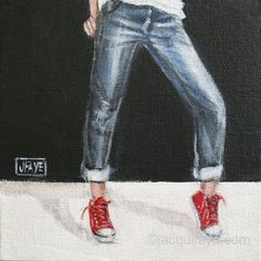 She's Got Sneakers -- red shoe painting by Jacqui Faye
