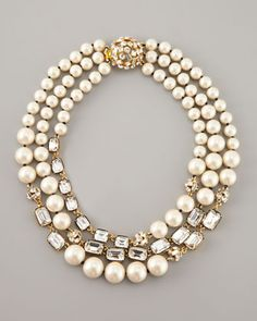 party pearl bead triple-strand necklace - Neiman Marcus #diy #inspo