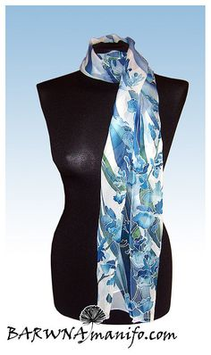 Breathtaking hand painted silk scarf.