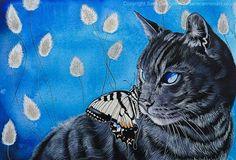 Sam Cannon, Cat Character, Beautiful Cats, Cat Art, Watercolor Paper, Blue Bird, Home Art, Illustration Art, Illustrations