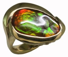 18ky gold Fire Agate Ring, hand carved then cast in a lost wax process. by Mardon Jewelers