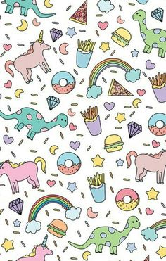 Cute donut, unicorn, dinosaur, rainbow, french fry iphone wallpaper. Background cute, girly, fun, colorful.