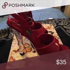 Sexy Pleaser heels Red patent platform clear heel shoe Pleaser Shoes Heels