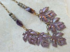 Amethyst Leaf Necklace Hand Painted Purple Leaves w/