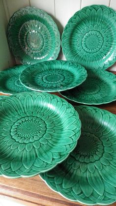 VICTORIAN Wedgwood SET OF 8 Majolica Green Leaf SUNFLOWER PLATES