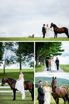 equestrian themed wedding in Saratoga Springs, NY | wedding horse with bride and groom