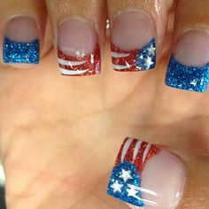 Image via Red, White And Cool Ideas For Your of July Nails Image via Patriotic of July Nail Ideas Image via Top 10 of July Nail Designs Image via Red Fingernail Designs, Acrylic Nail Designs, Acrylic Nails, Colorful Nail Designs, Cute Nail Designs, Colorful Nails, Pedicure Designs, French Nails, French Pedicure
