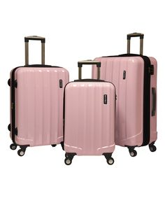 Look what I found on #zulily! Three-Piece Baby Pink Expandable Hardside Spinner Luggage Set by Travelers Club Luggage #zulilyfinds