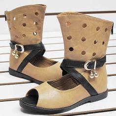 Camel Leather Open Toe Summer Girls Punk Fashion Sandal Boots SKU-133586