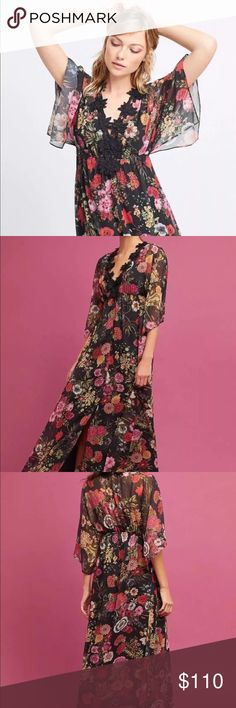 Anthropologie Farm Rio Laina Maxi Dress Size Small Anthropologie  Farm Rio  Laina Maxi Dress  Size Small  New With Tags A deep v-neck trimmed with bold lace makes a statement on this delicate floral gown.  What began as a handful of goods at a local fashion fair booth has grown into one of Brazil's most recognizable labels for sun-soaked dressing. With vibrant colors, bold silhouettes and feminine details embedded in every design.  Viscose Maxi silhouette Laced trim Pullover styling Hand…