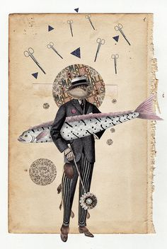 (Digital/Handmade Collage - on Student Show Fish Collage, Collage Artists, Collages, Digital Wave, Big Fish, Small Fish, Mixed Media Artwork, Small Art, Fish Art