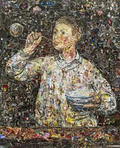Brazilian-born Brooklyn-based artist Vik Muniz (previously) has a number of new works on display at Galerie Xippas in Paris as part of his Pictures of Magazine 2 series. The nine pieces are recreations of famous paintings by Van Gogh, Manet, Cézanne and other artists using cut and torn fragments from popular magazines.
