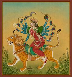 Durga Art called Vijay Yatra by Artist Avinab Mukherjee Krishna Hindu, Hindu Deities, Arte Shiva, Shiva Art, Durga Kali, Durga Images, Kali Goddess, Indian Folk Art, Indian Art Paintings