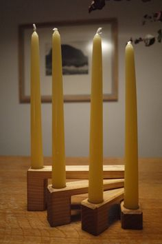 "Ash Wooden Candle Holder ""LONG"". Christmas Decor. Folding Candleholder. Advent Calendar. Wooden Candlestick"