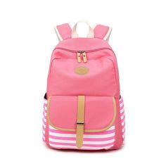 3ae187ac0f5f Stripe Print Canvas Backpack School Travel Bag