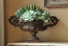 Styling with succulents + antique urn via Luxe Living Interiors. Floral Design by Thompson Hanson.