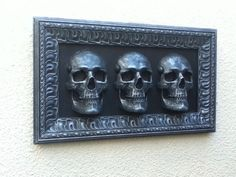Skull Head Home Decoration Wall Mounted Silver Gothic Horror Art Steampunk -