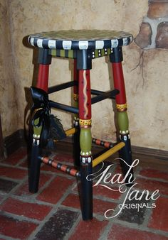 "One of a Kind hand painted stool…the perfect accent to any space. Add a ""pop"" AND stir up conversation! This is all freehand and ""aged"" to give it a ""you're welcome to have a seat"" feel. The seat is a generous 14"" and painted to remind us the important things in life are Faith,"