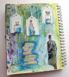 Page by Carolyn Dube. I just love all of it. \o/ The bottle images are from a roll of washi tape!